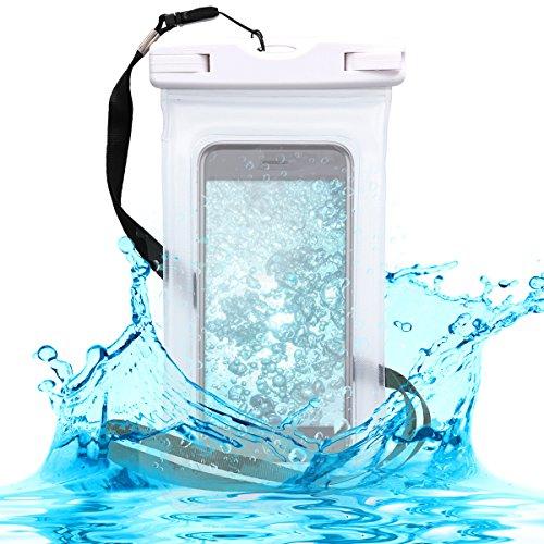 Kwmobile custodia impermeabile borsa da spiaggia per smartphone - beach bag galleggiante con fascia - bianco trasparente