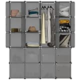 LANGRIA 20 Cube Organiser Stackable Plastic Storage Shelves Design Multifunctional Modular Wardrobe Closet Cabinet with Hanging Rod for Clothes Shoes Toys Bedroom Living Room (Transparent Grey)