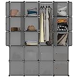 LANGRIA Regalsystem Kleiderschrank 20 Kubus Garderobenschrank für Aufbewahrung Kleidung, Schuhe, Spielzeug und Bücher (Grau)