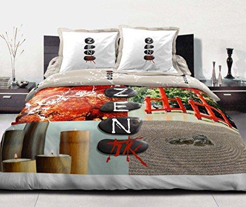 Douceur de Noches HC31289Zen Stone Juego 3Piezas Funda nórdica de algodón, 220x 240cm), Multicolor