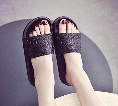 NOUVEAUTES Chaussettes plates en couleurs vives d'été pantoufles plates Noir
