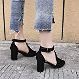 Women Hollow Sandals, NDGDA Square Heel Fish Mouth Buckle Roman Shoes Sandals Black