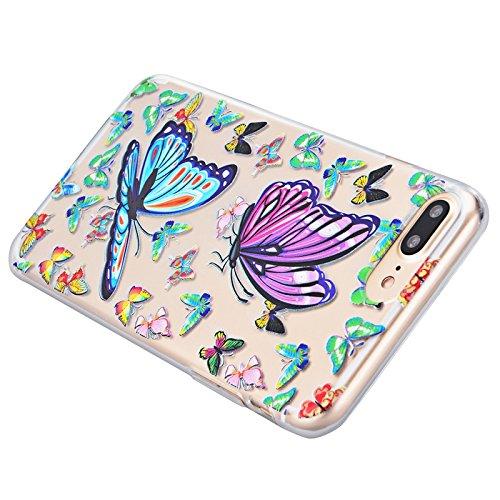 Für iPhone 7 Plus Cover, Yokata Transparent Motiv TPU Vintage Soft Case mit Weich Silikon Bumper Crystal Clear Schutzhülle Durchsichtig Extrem Dünne Case Hülle - Orchidee Schmetterling