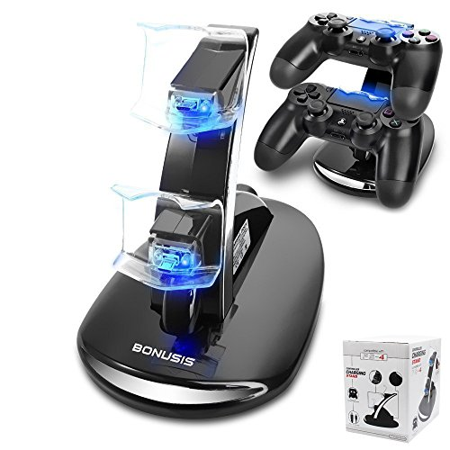 PS4 Controller Ladestation PS4-Controller-Ladegerät Dual-USB-Lade-Ladegerät Docking Station Stand mit LED-Anzeige für Sony Playstation 4 PS4 / PS4 Pro / PS4 Slim Controller [Schwarz]
