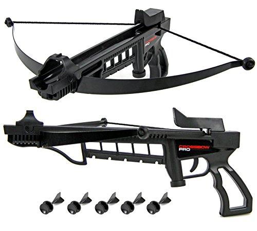 Jugend Sport Jaguar Armbrust Pistolenarmbrust Crossbow Set Metallbogen und Soft Dartpfeile frei ab 14 Jahren schwarz Bogen