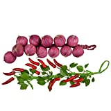 Thefancymart pair of Hanging Artificial Red Chillies & Onions Style Code- 6