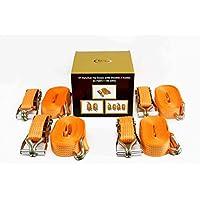 DiversityWrap–4x correa de trinquete amarre con mango de hierro y doble J gancho de 5000kg 5t 7m x50mm Webbing
