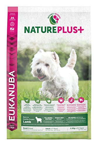 Eukanuba nature plus, cibo secco per cani adulti, taglia piccola, 1-6 anni, crocchette cani con agnello, senza frumento, 2,3 kg