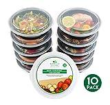 Pack de 10 recipientes alimentarios redondos, sin BPA, reutilizables, de plástico, con tapas,...