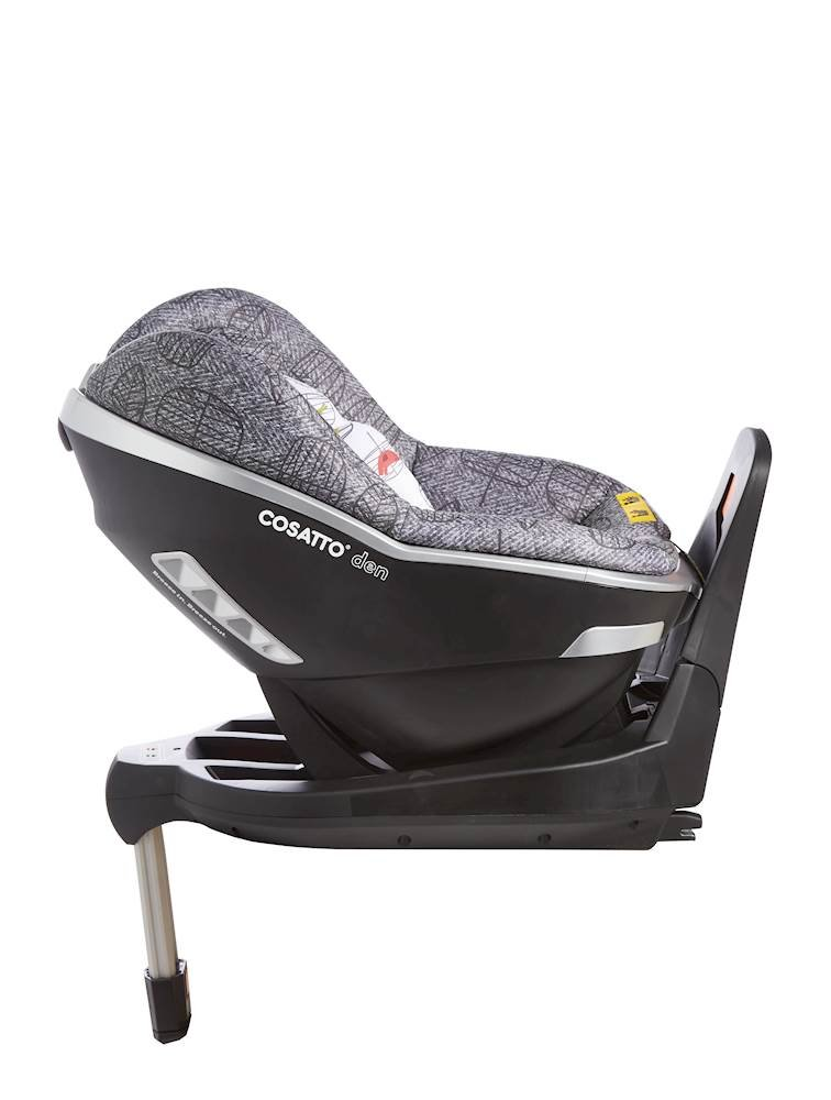 Cosatto Den i-Size Car Seat, Dawn Chorus, Birth to 18 kg Cosatto Rearward facing from birth to 15 months (83 cm child height) for extended protection; then forward facing from 71 cm child height up to 95 cm (approximately 3 years) Den has a built in electronic safe-fitting warning system, with a light and sound feature to prevent incorrect seat fitting One-handed simultaneous harness and headrest adjuster, allows to for easy adjustments without needing to rethread the harness in order to adjust the headrest 3