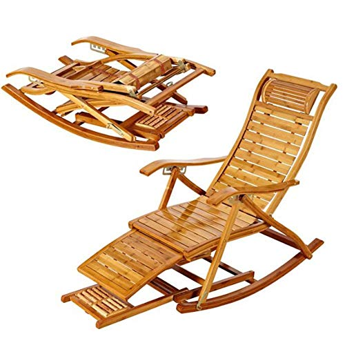 ZHANG Chaise-Rocking Fauteuil Fauteuil Lounging Rocker Deck Relax Fauteuil inclinable Chaise en Bambou intérieur extérieur