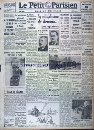 PETIT PARISIEN EDITION DE PARIS (LE) [No 23234] du 18/10/1940