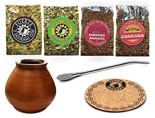 Yerba Mate Green Der Satz für Mate-Tee Trinken mit Tonbecher 200ml, Bombilla 19cm, und Mate Tee Proben Kit -