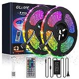 GLIME LED Streifen 10M LED Strip RGB Lichtband 2x5M LED Bänder 300LEDs 5050SMD
