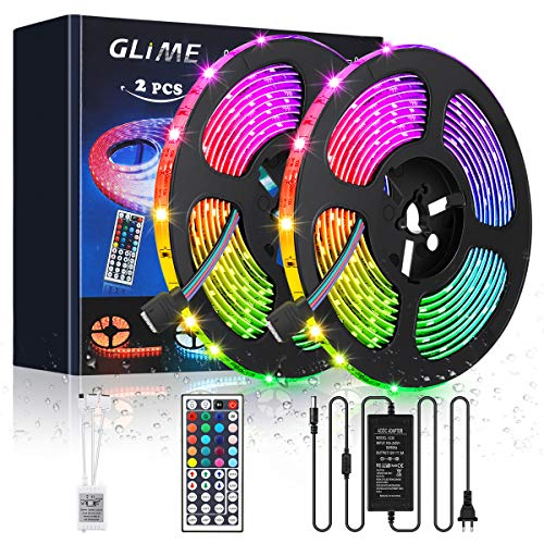 LED Streifen 10M GLIME LED Strip RGB LED Bänder 300LEDs 5050SMD Wasserdicht IP65 Lichtband Dimmbar Hintergrundbeleuchtung mit Netzteil 44-Tasten Fernbedienung Selbstklebend Beleuchtung 2x5M - 20 Farb-tv