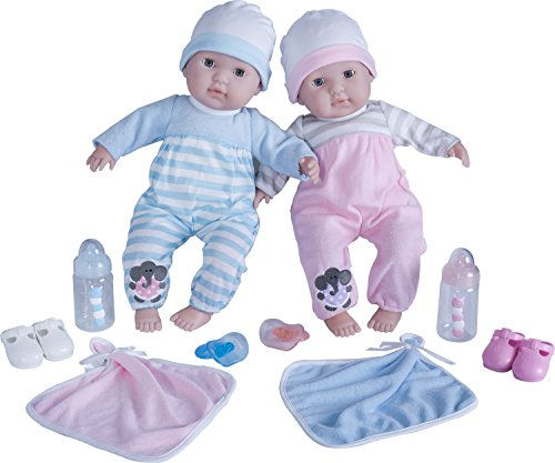 Berenguer Boutique Twins- 15 Soft Body Baby Dolls - 12 Piece Gift Set with Open/Close Eyes- Perfect for Children 2 + by Berenguer Dolls