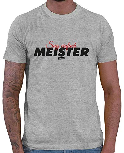 HARIZ  Herren T-Shirt Sag Einfach Meister Beruf Handwerk Inkl. Geschenk Karte Grau Meliert 4XL