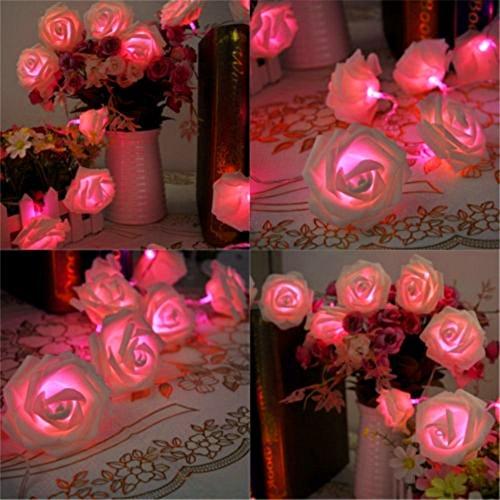 Amazingdeal365 20LED Romantische Rosen-Lichterkette Hochzeit Garten-Party Dekoration Terrassen-Beleuchtung für Balkon Terrassen Garten mit 4 Farbe (Pink)