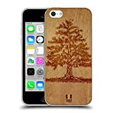 Head Case Designs Arbre Art en Bois Étui Coque en Gel molle pour iPhone 5c