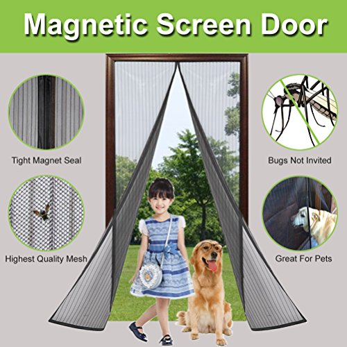 Fliegengitter Tür, ARTHOME Magnet Fliegengitter Vorhang, Magnetvorhang für Türen 90*210cm, Moskitonetz mit Magnetverschluss, Insektenschutzgitter, Türvorhang, Ideal für die Balkontür, Kellertür und Terrassentür