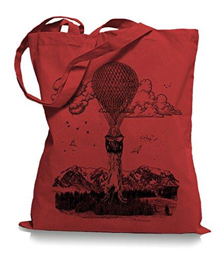 Ma2ca® Ballon Cat Katze Stoffbeutel Einkaufstasche Tasche Tragetasche / Bag WM101 Classic Red
