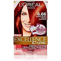 L'Oréal Paris Excellence Crema Colorante Triplo Trattamento Avanzato, 6.66 Biondo Scuro Rosso Profondo