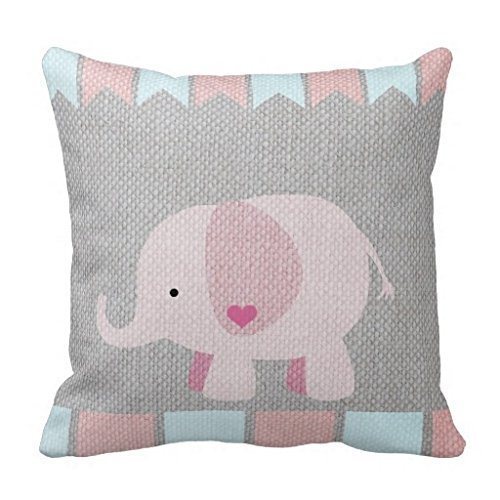 Kotdeqay Elephant Standard Size Pillow Case with Invisible Zipper Soft Cushion Cover Girls Baby Gray Pink Elephant Pillow Sham 18