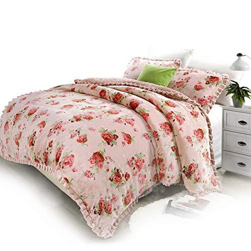 Sixminyo Einfache Winter-Verdickungs-Baumwolldruckflanell-europäische Garten-Rosetten-Decke (Color : Pink, Size : Queen) -