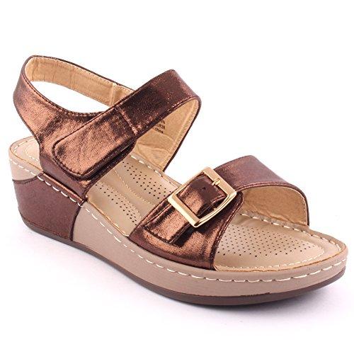 Unze Le nuove donne Ladies 'Calie' casuale con fibbie confortevole estate dei sandali calza il formato 3-8 Marrone