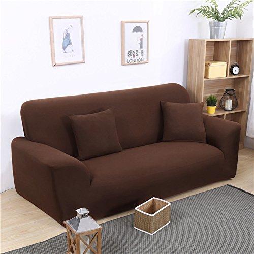 FDJKGFHGFCGDFGDG Elastische schonbezug Sofa,Universal-Sofa-Abdeckung European solid Color sofabezug Anti-rutsch-Sofa slipcovers Stoff-braun Loveseats