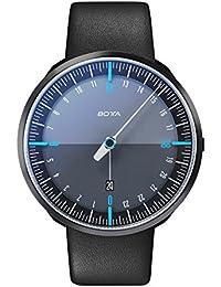 Botta Diseño de uno 24Plus Black Edition Azul Reloj de pulsera–24H einzeiger Reloj, acero inoxidable, cristal de zafiro antirreflejos, correa de piel