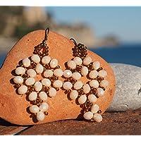 Magie di Trilli - Orecchini pendenti artigianali donna, in cristallo color avorio - idea regalo