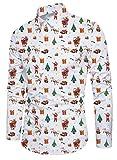Funnycokid Männer Drucken Xmas Hemd Langarm Weihnachten Button Down Hipster Design Lässig Herren Xmas Hemd Weiß
