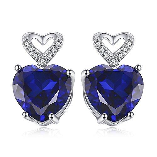 JewelryPalace Cuore Amore 7ct Blu Zaffiro Orecchini Argento Sterling 925