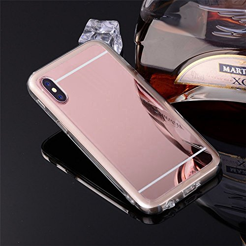 iPhone X Coque TPU Full Body,iPhone X Case Crystal Clear,Hpory Beau élégant Luxury [Full Body] [Tactile 360 Degrés] Ultra Thin Transparent Soft TPU Gel Silicone Cristal Clair Etui Housse de Protection Miroir,Or