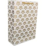 Arrow Paper Products Golden Lotus Design Paper Gift Bags for Gifting, Weddings, Birthday, Holiday Presents (20.32 x 7.62 x 27