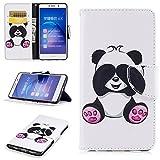 Coque Honor 6X, SpiritSun Étui Housse Portefeuille en Cuir Magnétique Flip Etui Coque de Protection Anti Choc Coque avec Fonction Support Stand pour Huawei Honor 6X-Panda Mignon