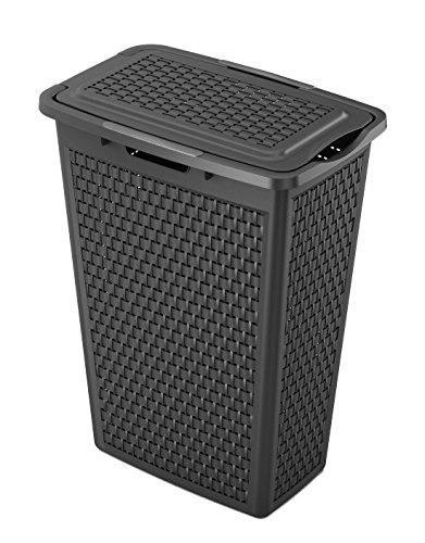 Sundis Wäsche Korb Country Slim in Rattan Optik, Stabiler Wäschesammler aus Kunststoff in Schwarz, Wäsche-Box BPA-Frei mit 40 Liter Volumen, ca. 43,5 x 28,5 x 57,5 cm (Schmale Korb)