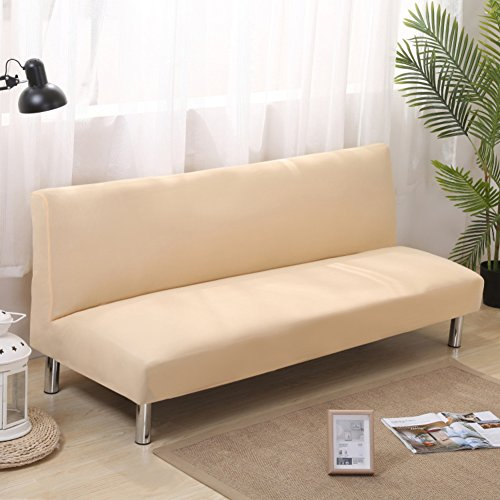 D&LE 1-teilige Sofa Überwurf Stretch Armless Falten Sofabezug Elastischen Voll abgedeckt Sofa Decken Möbel Protector Anti-mite Anti-Falten-Creme Farben 2-3 Sitzer 160-190cm
