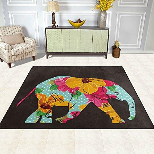 Zona Alfombra, Floral Dot elefante africano tribal Carpet Funda Super suave de impresión de estilo poliéster antideslizante alfombrillas de baño moderno para dormitorio sala de estar Hall cena mesa decoración del hogar 48x 63cm, tela, multicolor, 48 x 63 inch