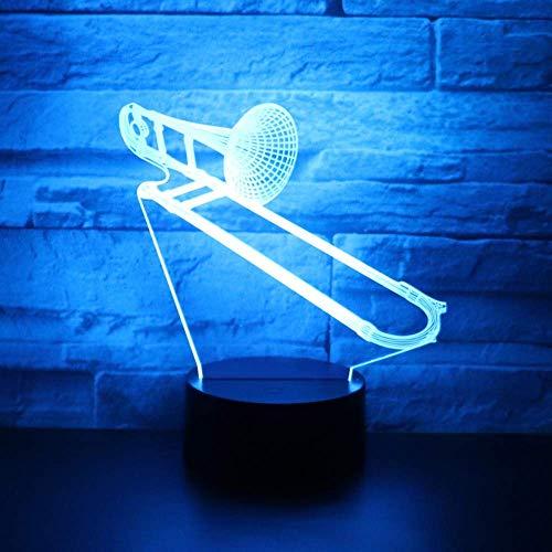 3D Led Nachtlicht Musikinstrumente Posaune Horn Mit 7 Farben Licht Für Hauptdekoration Lampe Erstaunliche Visualisierung