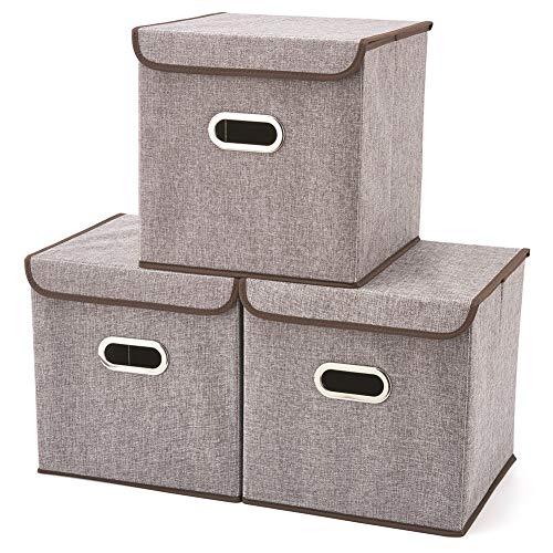 EZOWare 3-Pack Aufbewahrungsbox inkl. Deckel, Cube Aufbewahrungskorb Ordnungsystem Sauraum Boxen Körbe Kisten (Grau) - 32 X 32 cm