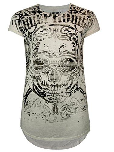 trueprodigy Casual Herren Marken T-Shirt mit Aufdruck, Oberteil cool und stylisch mit Rundhals (kurzarm & Slim Fit), Shirt für Männer bedruckt Farbe: Off White 1062146-8005 Offwhite