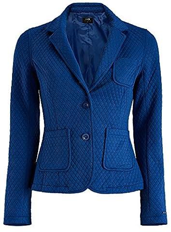 oodji Collection Women's Slim-Fit Blazer in Textured Fabric, Blue, UK 16 / EU 46 / XXL