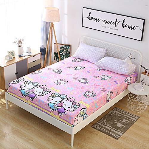 huyiming Einzelstück Baumwolle Kinder Cartoon 1,2 m Anti-Rutsch-Bett Trampolin Abdeckung Baumwolle 1,5 m 1,8 dünne Matte Schutzhülle 100X200 + 15