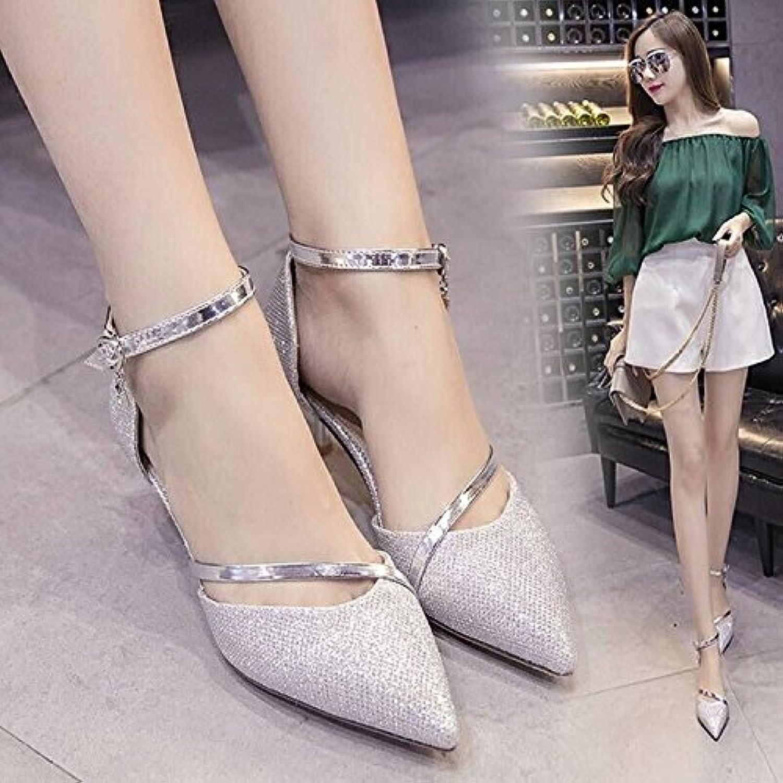 La La La Pointe du terme avec femme Chaussures Boucle Chaussures  s de mode, Argent et 38 - B07BPWFJHF - 6f03f5