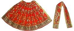 FABLOOK ORANGE Embroided Sherawali Vaishno Devi Durga Mata Lehenga Chunni Dress/ Vastra/ Poshak