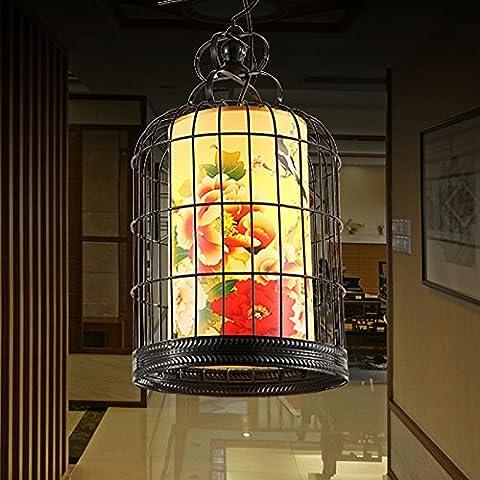 MSUXT Iluminación colgante Lámpara jaula de perico clásico contemporáneo peonías vitela salón restaurante luz de pasillo
