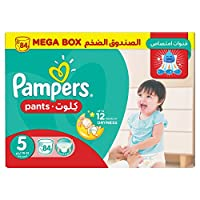‏‪Pampers Pants Diapers, Size 5, Junior,12-18 kg, Mega Box, 84 Count‬‏