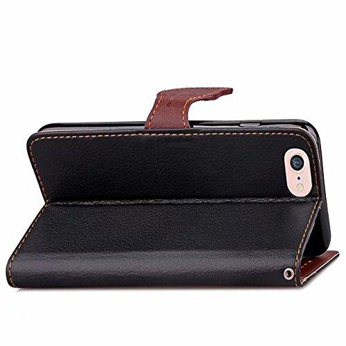 Eaquro Wallet Cover iPhone 8 Custodia a portafoglio con Card Slot [chiusura magnetica] in pelle ultra-sottile con funzione di supporto,Cover Morbido Antipolvere Protezione per iPhone 8 - Nero Nero